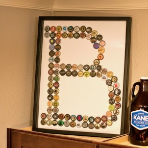 DIY Boyfriend Gift: Beer Cap Monogram Artwork